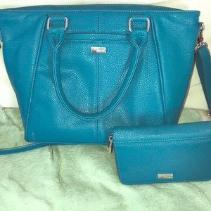 Blue green Thirty one bag with wallet